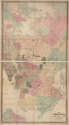 Antique Kings County Westchester Map Unique Wall Art — Giclee print and framed in USA by MUSEUM OUTLETS