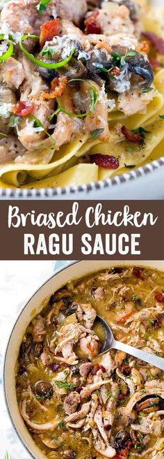 Homemade Ragu sauce made with braised chicken, mushrooms, bacon, and served up with pappardelle pasta. Delicious Italian cuisine made easy! via Jessica Gavin Chicken Ragu, Braised Chicken, Chicken Mushrooms, Chicken Stuffing, Chicken Piccata, Pasta Recipes, Chicken Recipes, Cooking Recipes, Quail Recipes