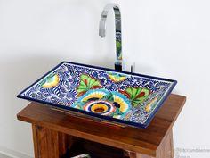 Mexico - Rechteckiges Design Waschbecken MEX 6 aus Mexiko, handverziert.