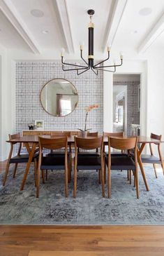 Vintage modern dining room Photo by Amy Bartlam Dining Room Design, Dining Room Chairs, Dining Room Furniture, Wall Paper Dining Room, Furniture Ideas, Modern Furniture, Dining Room With Mirror, Small Dining Rooms, Dining Living Room Combo