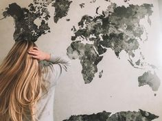 Vintage style decor with a world map, a World Map reusable wall mural Vintage Prints, Vintage Decor, Vintage Art, Vintage Style, Vintage Wallpapers, Retro Wallpaper, Removable Wall Murals, Vintage Interior Design, World Map Wall