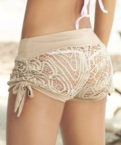 Sexaaay!  Mocha Crochet Cover-Up Shorts | zulily