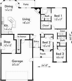 653788 one story 3 bedroom 2 bath french traditional for One story floor plans with bonus room