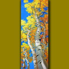 Excited to share the latest addition to my shop: Oil Contemporary Large Art painting, Tall & Skinny Vertical Canvas for your Specific Artwork Wall Decor Unique original Commission _Gary Kim Birch Tree Art, Tree Wall Art, Artwork Wall, Aspen Landscaping, Long Painting, Painting Art, Painting Abstract, Paintings, Abstract Canvas