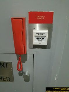 Emergency Intercom next to Emergency Alarm   Emergency Fire Safety Telephone