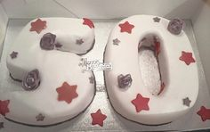 50th stars and flowers cake