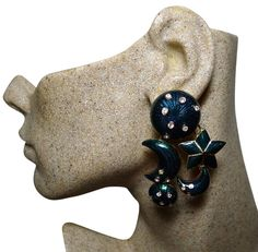 Authentic CHRISTIAN DIOR Vintage Teal Enamel Celestial XL Clip Earrings by PurseAngels on Etsy https://www.etsy.com/listing/245072406/authentic-christian-dior-vintage-teal