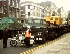 ) carrying Coles Cranes (seacoaler) Tags: old london truck police lorry triumph motorcycle 650 british metropolitan oif Old Lorries, Big Wheel, Old London, Triumph Motorcycles, Old English, Classic Trucks, Cool Trucks, Rigs, Crane
