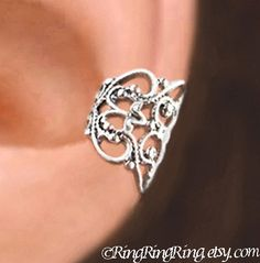 Lace Filigree ear cuffs, Sterling Silver earrings, earcuff clip jewelry, Left, Right or Pair