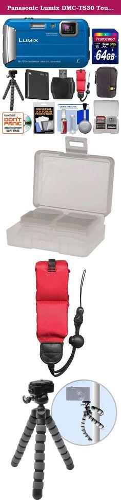 Panasonic Lumix DMC-TS30 Tough Shock & Waterproof Digital Camera (Blue) with 64GB Card + Case + Battery + Flex Tripod + Float Strap + Kit. Kit includes: ♦ 1) Panasonic Lumix DMC-TS30 Tough Shock & Waterproof Digital Camera (Blue) ♦ 2) Transcend 64GB SecureDigital SDXC 300x UHS-1 Class 10 Memory Card ♦ 3) Case Logic CPL-101 Digital Camera Case ♦ 4) Spare DMW-BCK7 Battery for Panasonic ♦ 5) Precision Design PD-T14 Flexible Compact Camera Mini Tripod ♦ 6) Precision Design Floating Foam…