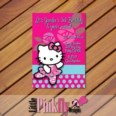 Hello Kitty Ballet Birthday invitation. by LittlePinkflyDesigns (Can't find the listing? Send a message to facebook.com/littlepinkflydesigns)