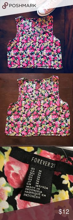 💐Forever 21 Floral Crop Top Sheer crop tank with floral design - green, pink and yellow pattern on black. EUC Forever 21 Tops Muscle Tees