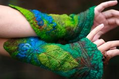 Felted Cuffs  Felted gloves  Arm warmers  Felt by FeuerUndWasser, $49.00