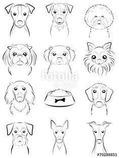 벡터 일러스트(편집용 파일):Dog / Line drawing