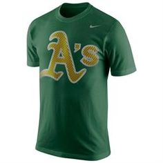 Nike Oakland Athletics Carbon Fiber Pattern Logo T-Shirt - Green