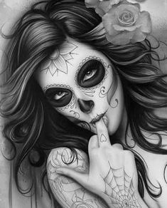 Tattoo Thigh Design Girls 23 Ideas - Tattoo Thigh Design Girls 23 Ideas You are in the right place about Tattoo Thigh Design Girls 23 Id - Skull Candy Tattoo, Sugar Skull Tattoos, Candy Skulls, Tattoo Girls, Girl Face Tattoo, Girl Tattoos, Gangsta Tattoos, Tattoo Crane, Chicanas Tattoo
