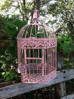 Victorian Pink Shabby Chic Bird Cage / Hanging Bird Cage. $48.00, via Etsy.