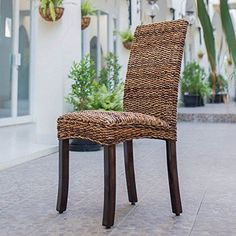 Set Of Two Louisa Abaca Cushioned Seat Dining Chair International Caravan Side Chairs Dini