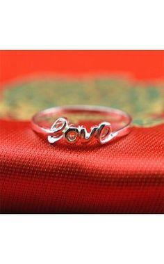 Handmade Sterling Silver Love Engagement Ring for Women