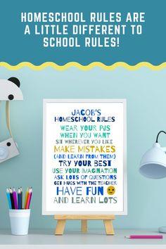Homeschool Rules printable art boys homeschool personalized | Etsy