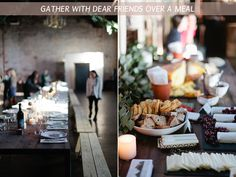 long table dinner... wood benches, simple dishes... unstitchedblog.com