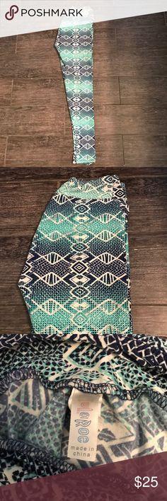Mint and blue snake skin print leggings LulaRoe leggings ONE SIZE TALL- longer length LuLaRoe Pants Leggings