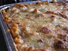 Baked Ziti for 30-40 people  (this does not include any meat in this recipe).  Can be frozen ahead, thawed and reheated to serve.