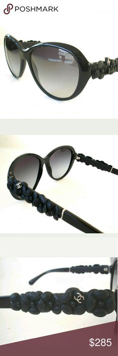 Chanel Sunglasses Authentic Chanel sunglasses  Leather flowers on sides 56-17-135 Case included These were store display and are in excellent condition. CHANEL Accessories Glasses