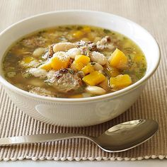 This hearty soup combines sweet butternut squash with fresh sage and spicy turkey sausage – a fantastic flavor trio. #recipe #WWLoves