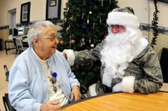"""""""North Dakota Guardmembers share holiday spirit with veterans"""" -- Click through for a sweet and touching story from 2010 in which this camouflaged Santa plays a large part."""