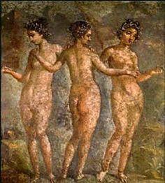Fresco pompeyano del IV estilo, Las Tres Gracias, s. I a.C. Nápoles, Museo Arqueológico Nacional.