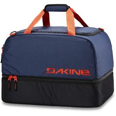 Dakine Boot Locker 69L Dark Navy OS. Limited Lifetime Warranty. Tarp lined boot compartment doubles as changing mat. Split level design for easy access. Removable padded shoulder strap.