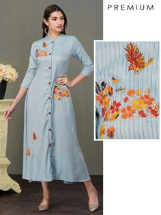 Embroidery On Kurtis, Kurti Embroidery Design, Hand Embroidery Designs, Embroidery Stitches, A Line Kurti, Embroidered Kurti, Street Hijab Fashion, Kurta Neck Design, Kurti Patterns