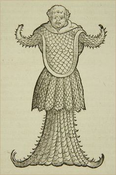 "American Museum of Natural History Library RF-29-E ""Sea monk,"" from a 1575 book by Swiss naturalist Konrad Gesner."