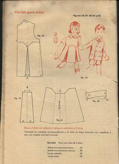 Archivo de álbumes Kids Patterns, Vintage Patterns, Doll Clothes Patterns, Clothing Patterns, Crafts For Girls, Pattern Drafting, Sewing For Kids, Vintage Children, Pattern Making