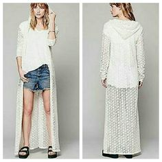 """Free People maxi BEDROOM CROCHET COAT duster Hooded crochet maxi lounge coat. Long sleeves. Slits on the bottom sides.  *100% Cotton  *Machine Wash Cold  *Import   Approximate Measurements for Size X-Small:  Length: 56 ??  Bust: 32""""  Bottom Opening: 65""""  Sleeve Length: 28""""  BRAND NEW WITHOUT TAGS Free People Jackets & Coats"""