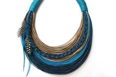 Measures:  17.7 inches( length) / 45cm  Materials: cotton cord - waxed cord  Colour: natural  blue  turquoise