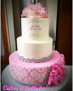 Christening Cake For Girl 3 tier fondant cake, damask pattern, fondant accents, gum paste flowers. Christening Cake Girls, Christening Cakes, Girl Baptism, Religious Cakes, Baby Girl Cakes, Gum Paste Flowers, Cake Central, Baby Shower Cakes, Cake Designs
