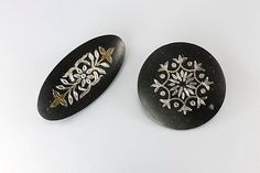 Gothic Brooch Mourning Jewelry Black Silver Gold by RMSjewels