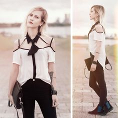 Get this look: http://lb.nu/look/7733740  More looks by Kadri S: http://lb.nu/anaphrodisiac  Items in this look:  Wholesalebuying Blouse, H&M Trousers, Thrifted Purse, Asos Tie, Jeffrey Campbell Boots   #artistic #chic #street
