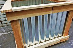 DIY Cedar & Galvanized Roofing Deck Box Garden and yard Planter Box Plans, Cedar Planter Box, Metal Planter Boxes, Wood Planter Box, Galvanized Planters, Wooden Planters, Wooden Decks, Diy Planters, Planter Ideas
