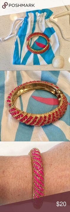 Lilly Pulitzer Pink Hinge Bangle Bangle bracelet Opens and closes with via hinge, easy to put on and take off. Smothered in tiny pink stones that glisten! Fun piece! Lilly Pulitzer Jewelry Bracelets