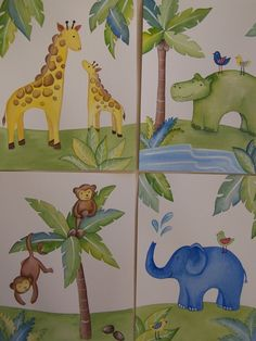 Jungle Animals Hippo Giraffe Monkey  Eli Elephant kids nursery art prints 8x10 each. $20.00, via Etsy.