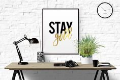 Stay Gold Printable Art Gold Digital Art by BeautyAndStyleDesign