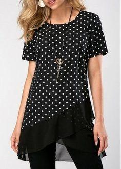 Polka Dot Print Short Sleeve Asymmetric Hem Blouse - Trend Way Dress Stylish Tops For Girls, Trendy Tops For Women, Blouses For Women, Blouse Styles, Blouse Designs, Trendy Fashion, Fashion Outfits, Womens Fashion, Fashion Scarves