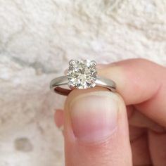 Solitaire setting in platinum makes for an amazing engagement ring