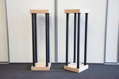A pair of acoustic speaker stands with painted black steel columns, base and support for multi-layer beech speakers. Bar Stools, Etsy, Furniture, Vintage, Home Decor, Bar Stool Sports, Decoration Home, Room Decor, Counter Height Chairs