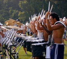 Blue Devil's snare line. Check out the stick heights! Outrageous and uniform at the same time!