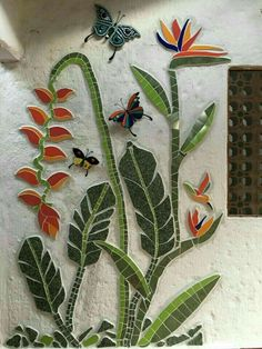 Mosaic flowers and butterfliesBeautiful exterior wall with flowers and butterflies - SalvabraniMosaic House Numbers, Palm Tree, Tropical, Bird of Paradise Flowers, in the works. Janet Dineen's Mosaic Art by HappyHomeDesignArt on EtsyVery nice Mosaic Mosaic Artwork, Mosaic Wall Art, Tile Art, Mosaic Glass, Mosaic Tiles, Glass Art, Stained Glass, Mosaic Pots, Pebble Mosaic