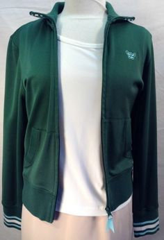 Aeropostale Women's Athletic Zip Jacket Size L Green Blue with Butterfly